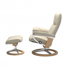 Stressless Consul Medium Chair and Stool with Signature Base