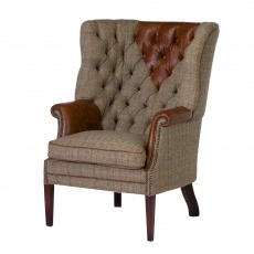Tetrad Harris Tweed MacKenzie Chair Option B - Fabric cover with Hide Arms, Head Rest and piping.