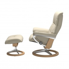 Stressless Mayfair Large Chair and Stool with Signature Base
