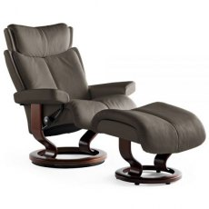 Stressless Magic Medium Chair and Stool with Classic Base