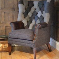 Tetrad Harris Tweed MacKenzie Chair - Option C Patchwork Back with hide arms, buttons & piping