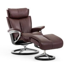 Stressless Magic Medium Chair and Stool with Signature Base