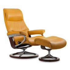 Stressless View Large Signature Base Recliner & Stool