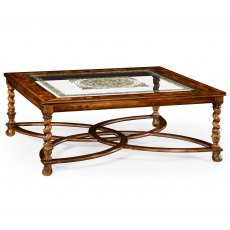 Jonathan Charles Square Oyster & Eglomise Coffee Table Glass Top (52)