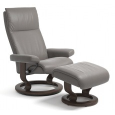 Stressless Aura Small Chair And Stool With Classic Base