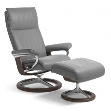 Stressless Aura Medium Chair And Stool With Signature Base