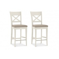 Bentley Designs Montreux Grey Washed Oak & Soft Grey X Back Bar Stool (Pair) Bonded Leather