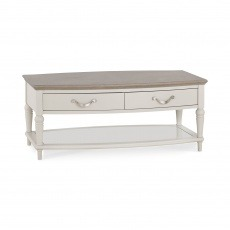 Bentley Designs Montreux Grey Washed Oak & Soft Grey Coffee Table With Drawers