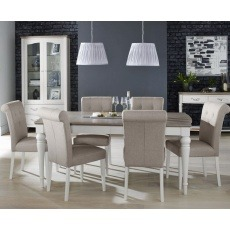 Bentley Designs Montreux Grey Washed Oak & Soft Grey 6-8 Ext. Table & 6 Upholstered Bonded Leather C