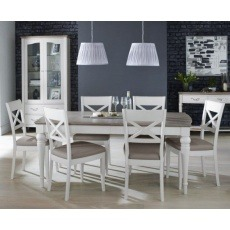 Bentley Designs Montreux Grey Washed Oak & Soft Grey 6-8 Ext. Table & 6 X Back Chairs