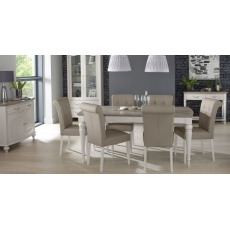 Bentley Designs Montreux Grey Washed Oak & Soft Grey 4-6 Ext. Table & 6 Upholstered Bonded Leather C