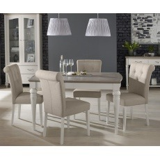 Bentley Designs Montreux Grey Washed Oak & Soft Grey 4-6 Ext. Table & 6 Upholstered Fabric Chair