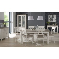 Bentley Designs Montreux Grey Washed Oak & Soft Grey 4-6 Ext. Table & 6 X Back Chairs