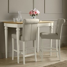Bentley Designs Montreux Grey Washed Oak & Soft Grey Bar Table & 2 Upholstered Stools - Bonded Leath