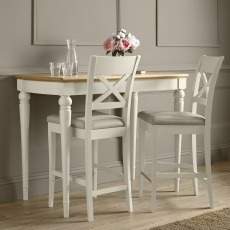 Bentley Designs Montreux Grey Washed Oak & Soft Grey Bar Table & 2 X Back Stools - Bonded Leather