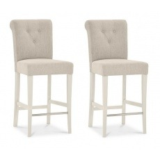 Bentley Designs Montreux Pale Oak & Antique White Upholstered Bar Stool (Pair) Fabric
