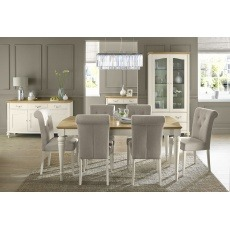 Bentley Designs Montreux Pale Oak & Antique White 4-6 Ext. Table & Upholstered Fabric Chairs