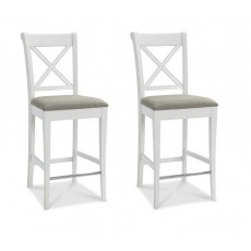Bentley Designs Hampstead Soft Grey X Back Bar Stool - Pebble Grey Fabric (Pair)