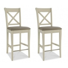 Bentley Designs Hampstead Soft Grey X Back Bar Stool - Olive Grey Bonded Leather (Pair)
