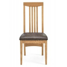 Bentley Designs High Park Slatted Chair - Distressed Bonded Leather (Pair)
