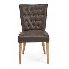 Bentley Designs High Park Upholstered Chair - Distressed Bonded Leather (Pair)