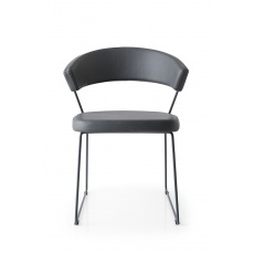 Connubia Calligaris New York Sleigh Leg Chair Leather : Coloured Frame