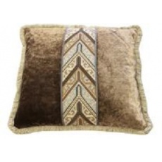 Mulberry Medium Square Scatter Cushion with tasselled edges and embroidered braid