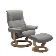 Stressless Mayfair Medium Chair and Stool with Classic Base In Paloma Silver Grey & Oak Base - Express Delivery!