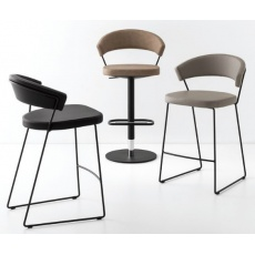 Connubia Calligaris New York Bar Stool Sleigh Base Leather With Coloured Frame