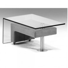 Cumuly by Himolla Chester Glass Coffee Table with Integral Stool