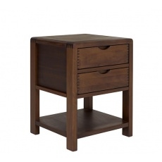 Ercol 1368 Bosco 2 Drawer Bedside Cabinet - Dark Wood