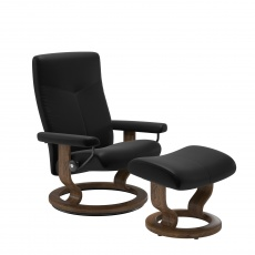 Stressless Dover Medium Chair and Stool with Classic Base - Batick Black - Quick Ship!
