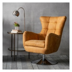 Hudson Bristol Swivel Chair Saddle Tan