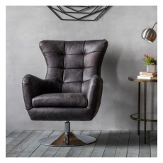 Hudson Bristol Swivel Chair Antique Ebony