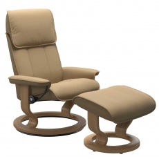 Stressless Admiral Medium Chair and Stool with Classic Base - Paloma Sand & Oak