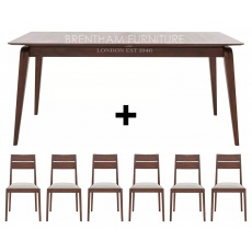 Ercol Lugo Medium Extending Dining Table + 6 Dining Chairs