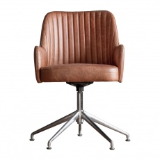 Gallery Curie Swivel Chair Vintage Brown Leather