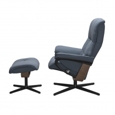 Stressless Mayfair Medium Chair and Stool with Cross Base
