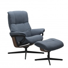 Stressless Mayfair Large Chair and Stool with Cross Base