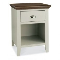 Bentley Designs Hampstead Soft Grey & Walnut 1 Drawer Nightstand