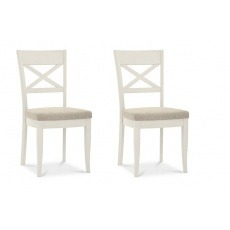 Bentley Designs Montreux Antique White X Back Chair - Sand Fabric (Pair)