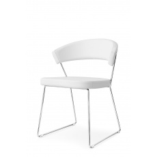 Connubia Calligaris New York Sleigh Leg Chair Skuba : Chrome Frame