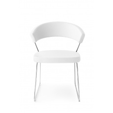 Connubia Calligaris New York Sleigh Leg Chair Leather : Chrome Frame