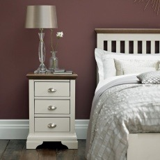 Bentley Designs Hampstead Soft Grey & Walnut 3 Drawer Nightstand