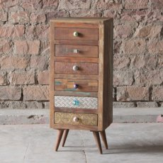 Little Tree Furniture Shimla Eclectic Reclaimed 6 Multi Drawer Storage Chest