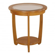 Nathan 5814 Shades Teak Glass Top Round Table