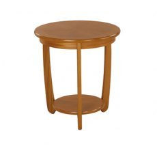 Nathan 5824 Shades Teak Sunburst Top Round Lamp Table