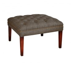 Tetrad Harris Tweed MacKenzie Footstool - Hide Buttons & Piping
