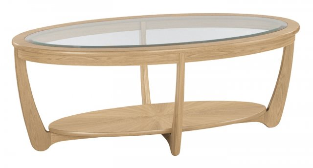 Nathan 5835 Shades Oak Glass Top Oval Coffee Table