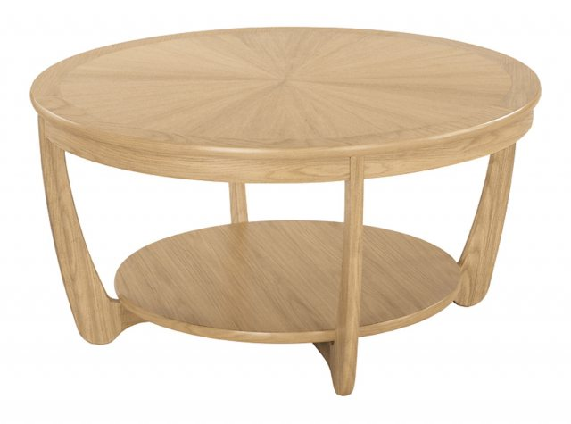 Nathan 5925 Shades Oak Sunburst Top Round Coffee Table